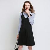 中大尺碼~鬆緊喇叭袖口假兩件式長袖洋裝(L~5XL)