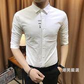短袖襯衫新品刺繡襯衫男中袖修身正韓潮流帥氣五分袖襯衣寸衫發型師短袖M-3XL