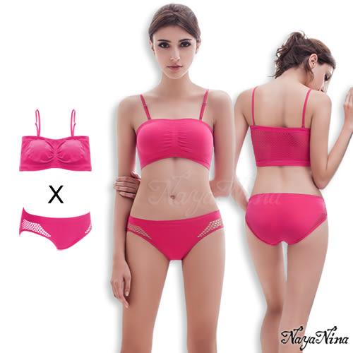 感動!無縫透氣無鋼圈內衣內褲組S-XL 深粉色 (OS小舖)