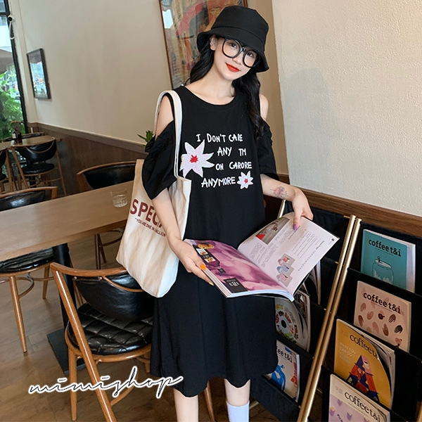 孕婦裝 MIMI別走【P521468】夏日清涼 露肩棉質花朵連身裙 孕婦裙