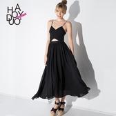 優一居 Haoduoi冷淡風宴會吊帶露背漏腰連身裙 黑色雪紡性感禮服裙長裙