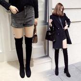 長靴女過膝冬新品社交女鞋黑色中跟繫帶長筒靴性感顯瘦彈力靴