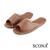 SCONA 全真皮 手縫舒適室內鞋 咖啡色 (女) 9998-2
