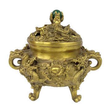 銅雙龍香爐