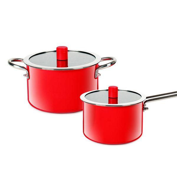 魔力坊嚴選 靚彩不鏽鋼800度高溫琺瑯燒製湯鍋兩件組(2.8L雙耳+1.4L單柄)(MF0475)
