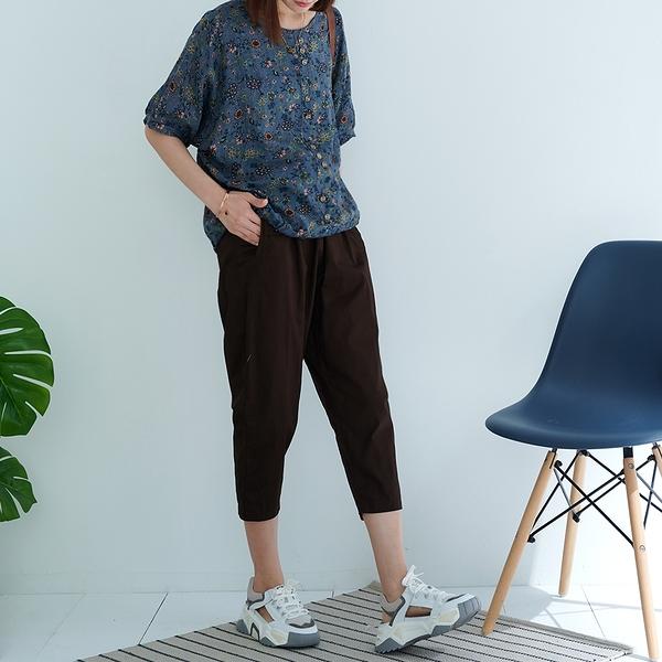 【慢。生活】輕文藝口袋寬鬆哈倫褲 7769  FREE 咖啡色