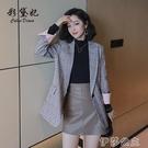 外套 春夏新款格子外套女復古英倫風西裝小個子韓版流行外套潮西服