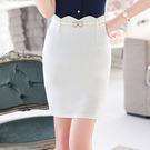 優雅合身波浪設計OL窄裙短裙~(不含腰帶)~美之札