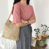 草編織麻繩手提單肩包新款斜挎休閒包包女潮