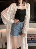 防曬衣女夏季長款雪紡開衫外套仙女披肩長袖防曬衫燈籠袖