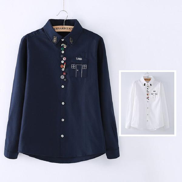 *ORead*日系學院風立體鈕扣襯衫(2色S~L)