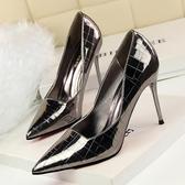 細跟高跟鞋子 尖頭金屬石頭紋顯瘦夜店鞋《小師妹》sm525