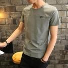 夏季男士短袖t恤男裝上衣純色青少年圓領半袖上衣潮