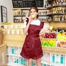 圍裙韓版時尚廚房做飯防油餐廳工作服美甲美容院成人女可愛歐式 草莓妞妞