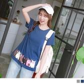 《AB11021-》台灣製造.高含棉可愛貓咪下襬印圖短袖T恤 OB嚴選