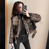 牛仔外套 2020年秋冬季新款韓版寬鬆百搭拼接牛仔格子短款上衣 交換禮物