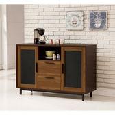 【森可家居】卡爾頓4尺碗碟櫃 8ZX912-4 餐櫃 收納廚房櫃 中島 LOFT復古工業風 木紋質感