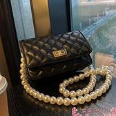 斜背包網紅爆款珍珠鍊條包包女夏2021新款潮時尚斜背包高級感洋氣小方包 芊墨