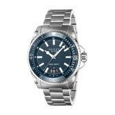 【台中米蘭站】全新品 GUCCI 深藍錶盤 鋼帶 石英 男錶 (385908)