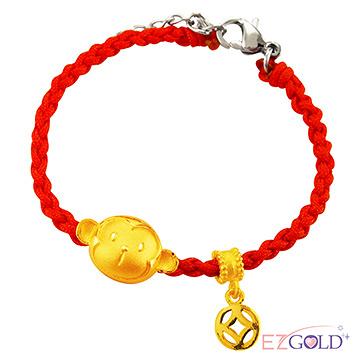 甜蜜約定金飾-發財猴-黃金編織手鍊(成人配戴)