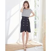 【南紡購物中心】CANTWO時尚圓領條紋拼接雙排釦裙