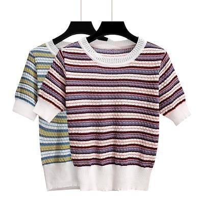 涼感上衣~冰絲針織短t~橫條紋短袖t恤女裝潮設計感小眾短款上衣.BF19A愛尚布衣