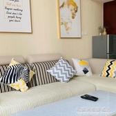 簡約暖黃幾何綿柔抱枕灰色靠枕客廳沙發ins靠墊暖色系北歐風現代 NMS名購居家