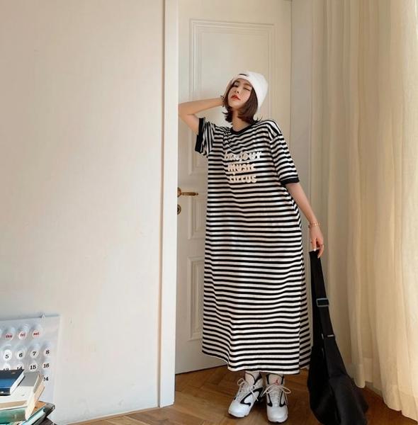 大碼短袖洋裝~262#韓寬松大碼條紋印花過膝連身裙中長款T恤短袖裙NC417胖妹大碼