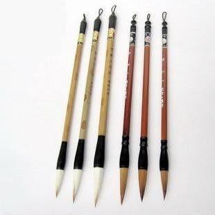 毛筆 羊尖毫+優狼毫)大中小*勁松 12針筆架適用