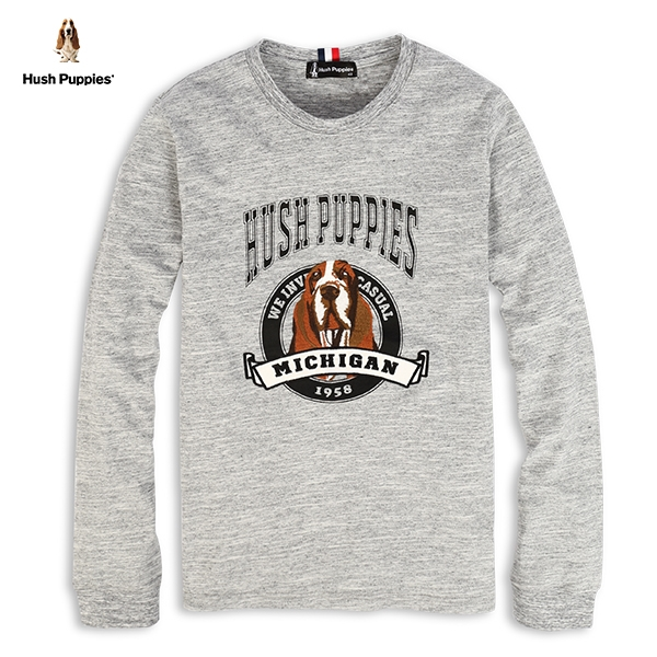 Hush Puppies T恤 男裝狗頭刺繡圖騰長袖T恤