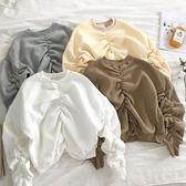 2018冬裝韓版時尚褶皺不規則加絨長袖大學T女休閒寬鬆短款套頭上衣