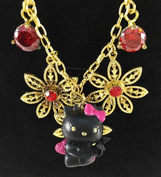 【震撼精品百貨】Hello Kitty 凱蒂貓~造型項鍊-黑金天使