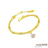 J'code真愛密碼金飾 純淨幸福黃金/白瑪瑙手鍊