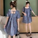 孕婦裝 MIMI別走【P521473】藍調香氛 小方領碎花連身裙 娃娃裝 孕婦洋裝