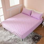 《雙人床包+枕套2件》 MIT台灣精製  透氣防潑水技術處理床包式保潔墊(粉紫色)