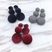 韓版 秋冬 絲絨 條紋 格子 大小 圓形 鈕扣 三顆球 圓形 布藝 耳環 長款 耳飾