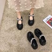 粗跟厚底單鞋女日系高跟復古英倫風水鉆小皮鞋jk鞋夏瑪麗珍鞋【貼身日記】