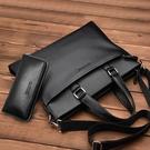 男包橫款男士包包手提包商務公文包側背斜背包休閒皮包男 黛尼時尚精品
