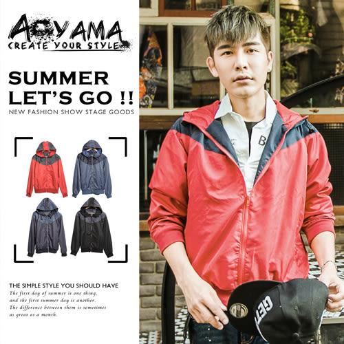 青山AOYAMA【WA10336】風衣外套 雙色拼接防風網狀內裡連帽外套/風衣4色