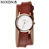 NIXON 手錶 原廠總代理 A403-1233 KENZIE WRAP 玫瑰金色 潮流時尚皮錶帶 男女  生日 情人節禮物