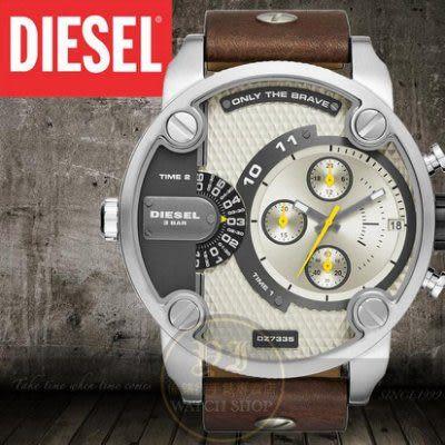 DIESEL國際品牌飛行者二地時間個性時尚腕錶-黃x咖啡皮帶/51mm公司貨DZ7335/另類設計/禮物/情