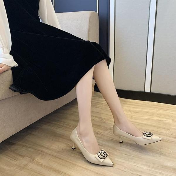 高跟鞋女年新款秋季百搭網紅氣質法式黑色細跟尖頭工作OL單鞋 【共慶元旦】