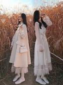 網紗洋裝 秋冬氣質溫柔風法式複古甜美超仙女打底蕾絲網紗洋裝內搭長裙子