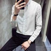 條紋襯衫男長袖加絨加厚韓版chic潮流修身青年秋季白襯衣 錢夫人小舖
