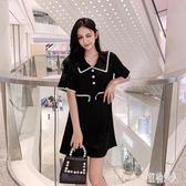A字裙子女2019新款夏法式復古裙高腰連身裙娃娃領洋裝氣質小黑裙 PA4596『紅袖伊人』