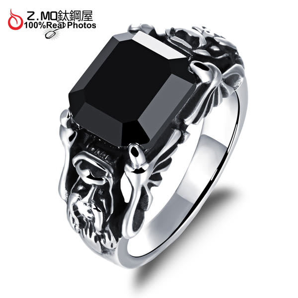 [Z-MO鈦鋼屋]316L白鋼/中性戒指/優質白鋼材質/不生鏽過敏/黑色寶石/單個價【BKS473】