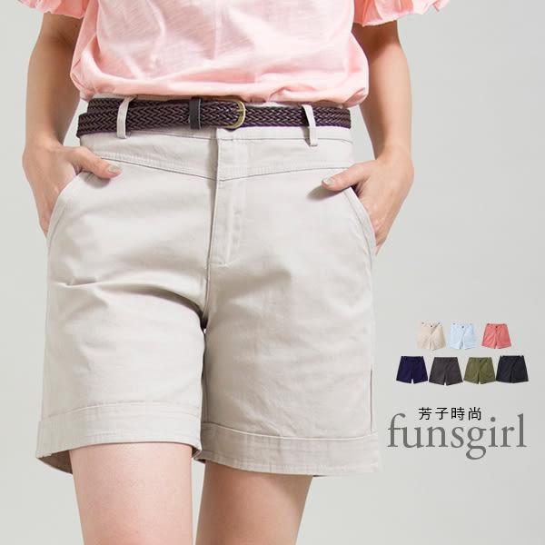 輕便褲-單釦後假口袋休閒短褲(M-XL)-7色~funsgirl芳子時尚