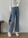 高腰顯瘦直筒牛仔褲女2021年新款寬鬆九分微喇叭褲潮ins煙管褲子 伊蘿