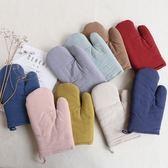 日式棉質麻文藝純色隔熱手套 微波爐耐高溫廚房烘焙烤箱專用手套【販衣小築】