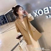 小西裝外套女網紅年春季西服女上衣chic黑色韓版英倫風休閒 卡布奇諾